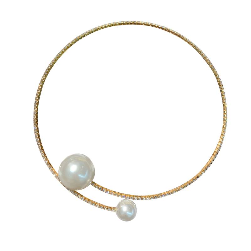 Fashion Necklace Women Rhinestone Big Small Pearl Torques Jewelry Temperament Modern Personality Choker