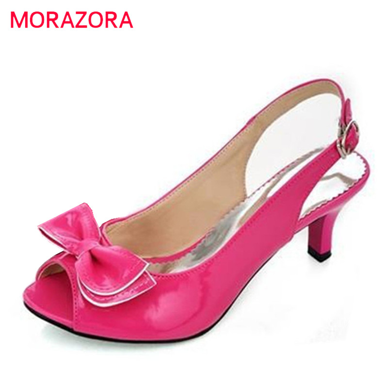 MORAZORA Colors women sandals peep toe ladies high heels sandals bowtie party wedding shoes woman slingbacks pumps super high 8cm up pump women fashion cross tied shoes peep toe sandals ladies party casual wedding shoes 2 colors