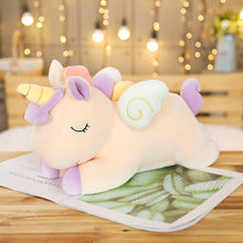 Cute Unicorn Stuffed Animals Dolls Plush pillows Toys Rainbow Horse Flying Wings Fat Pillows Kids Girls Gift