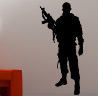 American Soldier Wall Sticker Black Removable Army Marine Vinyl Transfer Stencil Die Cut Mural Home Room