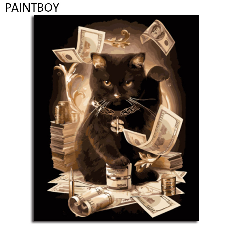 PAINTBOY Framed  DIY Painting By Numbers Animals Cat On Canvas Home Decor For Living Room 40*50m Wall Art GX8911