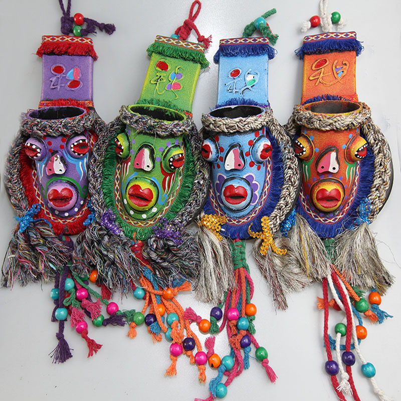 Primitive Style National Customs Crafts Exquisite Colored Drawing Grimace Braided Wood Bead Tassel Wind Chimes Home Decorations