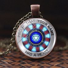 Iron man necklace Tony Stark Tibet silver Glass dome pendant Bottle Opener Kolye iron ketting