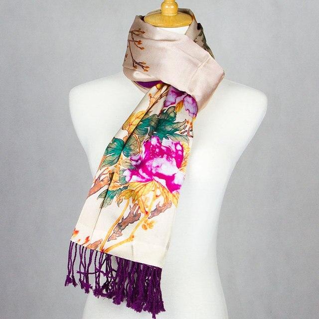 100% Silk Super Thick Pashmina Women Scarf Peony Double Layer Large Silk Shawl 2017 Silk Pashmina Long Big Wrap Luxury Lady Gift