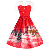 Christmas Dress Women S Short Sleeve See Through Lace Dress Open Back Hole Dress Printed With