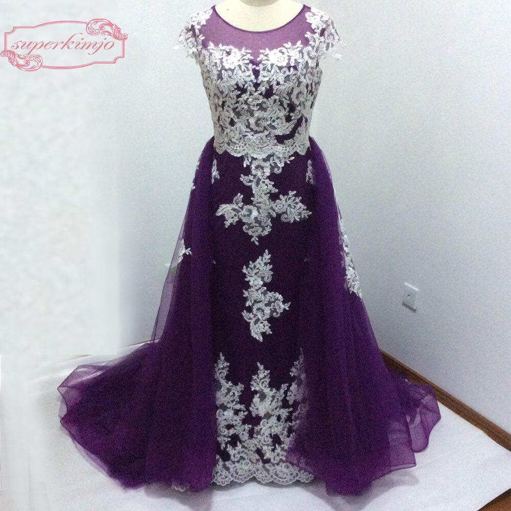 Robes de soirée pas cher longueur de plancher Cap manches dentelle Appliques pure équipage détachable jupe gonflée violet vraie photo robes de bal