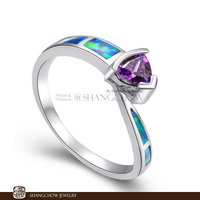 New! Vintage in Fashion Jewelry Blue Fire Opal with Purple Quartz 925 Sterling Silver women's Ring RP0001