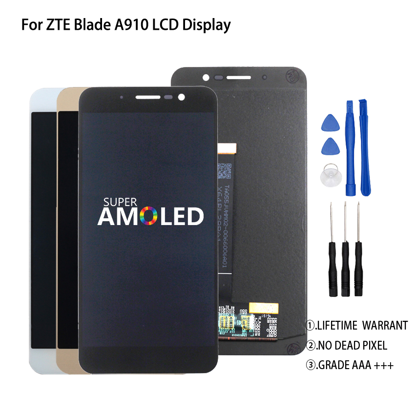 Original 5.5 Inch For ZTE Blade A910 BA910 TD LTE LCD Display Touch Screen Digitizer Assembly Perfect Repair Part Free Tools