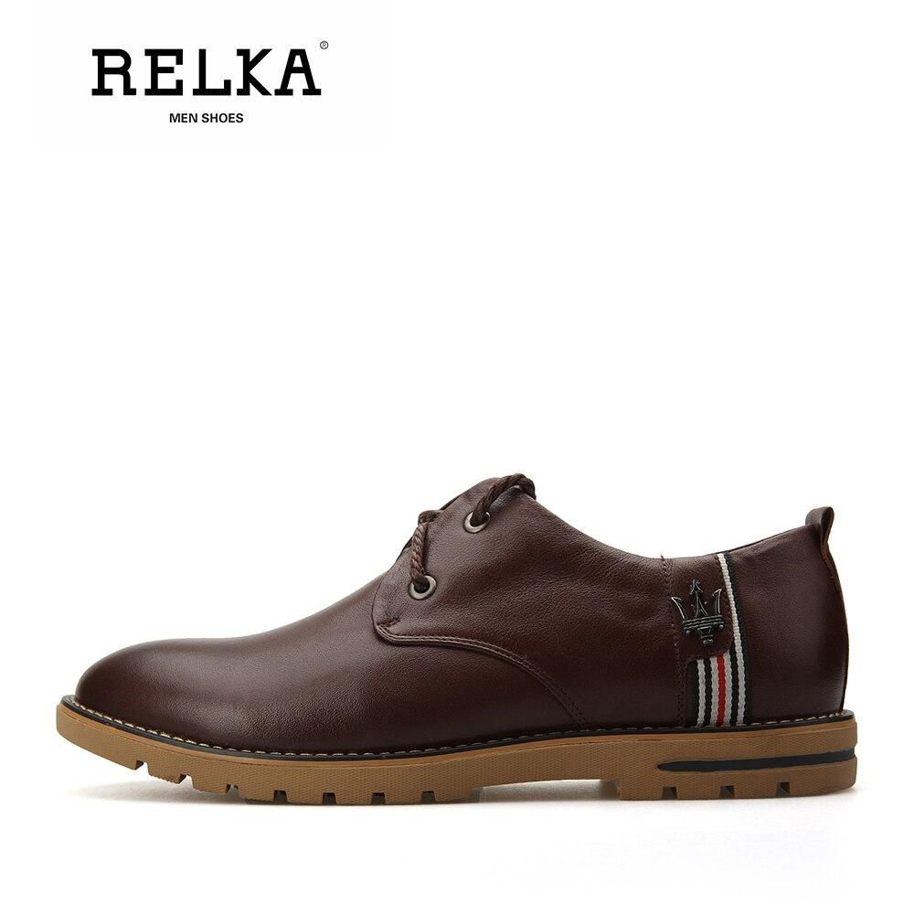 Luxo Salto Do Artesanal Dos Qualidade Sapatos De Alta Sólidos Brown up Couro Redondo Vintage black Sapatas N6 Lace Relka Confortáveis Pé Dedo Vaca Homens OFIxPnq