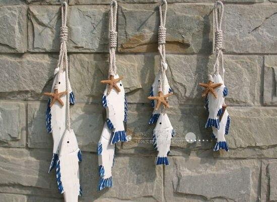 Wood Sculpture Fish Decorations,1 String 1 Set, Nautical Decor Marine Fish,