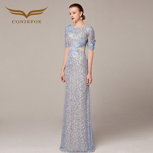Coniefox 31208 Sparkly Long Blue Prom Dresses 2016 Newest Elegant Women Beaded Vestidos De Festa Vestido Longo