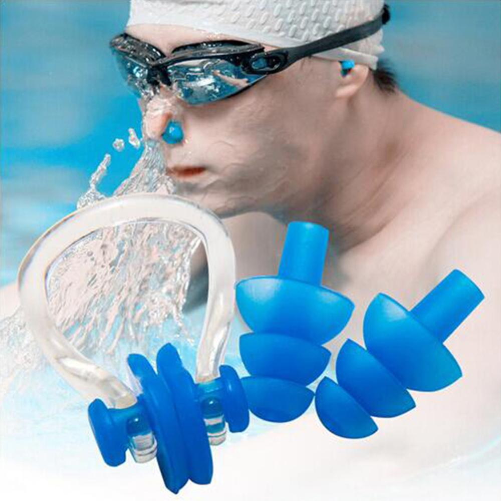 Blue Waterproof Silicone Swimming Surfing Nose Clip+Ear Plug Set Case