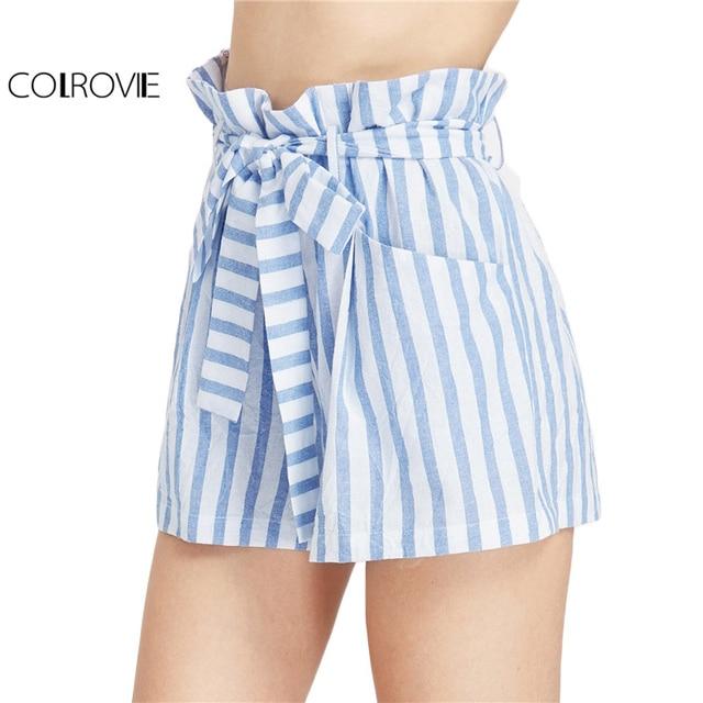 Aliexpress.com : Buy COLROVIE Casual Stripe Shorts Blue Beach Wear ...