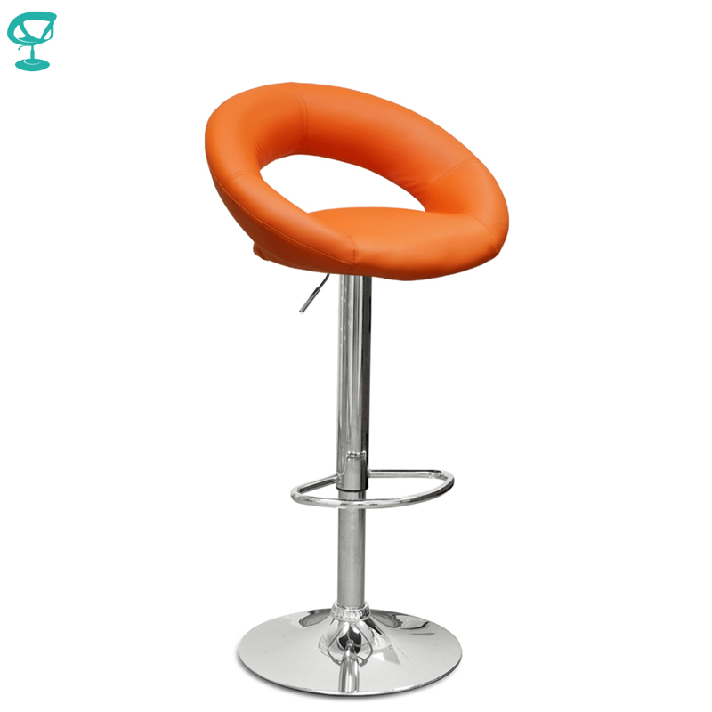 94522 Barneo N-84 Leather Kitchen Breakfast Bar Stool Swivel Bar Chair Orange Color Free Shipping In Russia