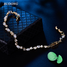 BUDONG 2017 Bracelet for Women Fashion Oval White Crystal Twisted Chain Love Silver/Gold Color Bangle Wedding Jewelry XUL165