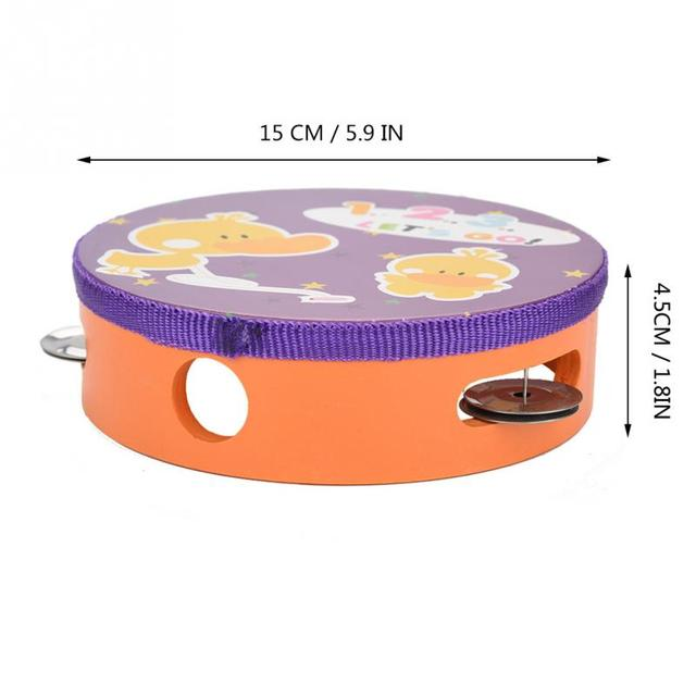 15cm Cartoon Wooden Handheld Tambourine Freestyle Hand Drum Bell Musical Percussion Instrument for Parties Kids Games