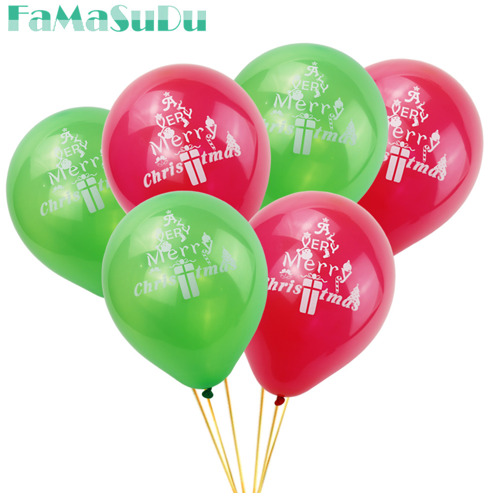 20pcs Latex Balloon Merry Christmas Balloons Red Green Christmas Eve ...