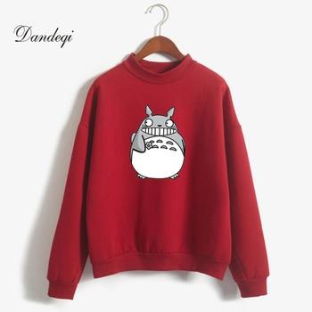 Kpop New Korean Fashion Casual Thicken Women Cartoon Totoro Hoodies Sweatshirts Harajuku Kawaii Moletom Feminino Pullover Tops