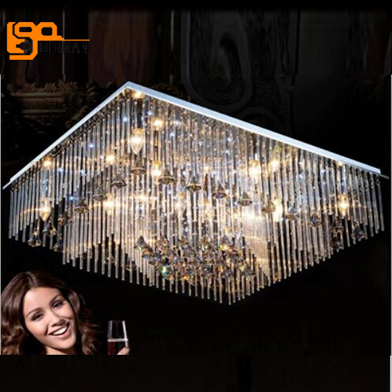 new modern rectangle chandelier crystal lamp LED luminares decorative home lighting