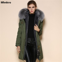 China Parka Coats Women Suppliers 2017 Winter Long Style Army Green Fur Coat Grey Elegant Raccoon Collar MR. Fur Parkas
