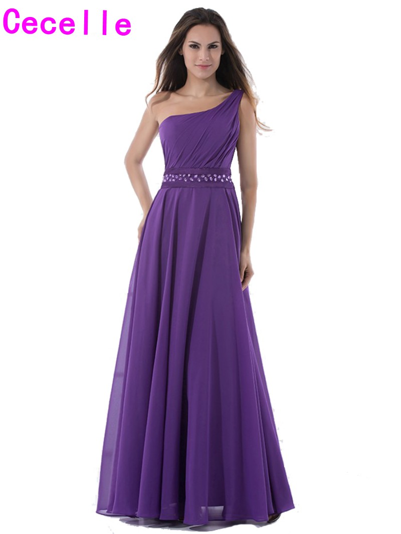 2017 purple long beach bridesmaids dresses one shoulder pleats a 2017 purple long beach bridesmaids dresses one shoulder pleats a line floor length women formal country wedding bridesmaid robe in bridesmaid dresses from ombrellifo Image collections