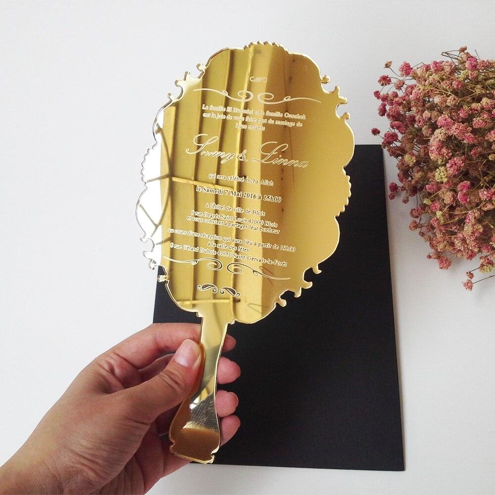Sample order for 123*238mm handheld mirror shape golden mirror acrylic wedding invitation card laser engraving letters ph tester accept sample order