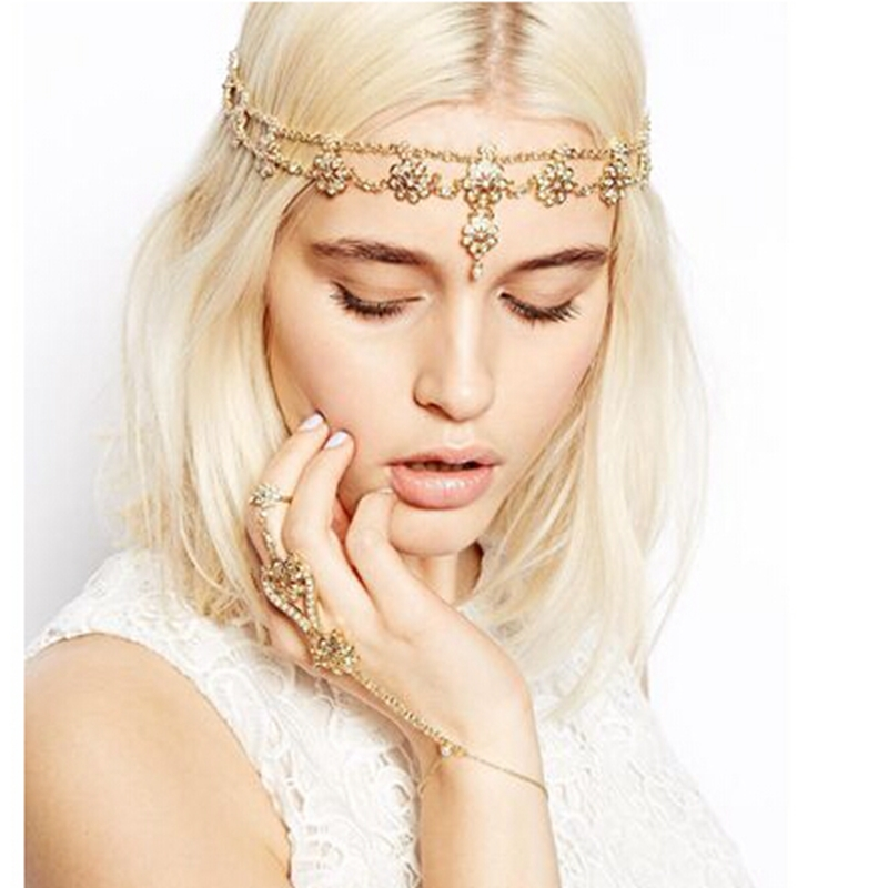 Fashion Gypsy Metal Rhinestone Flower Tiara Hairband Hair Wedding Accessories Women Forehead Indian Jewelry Free Shipping