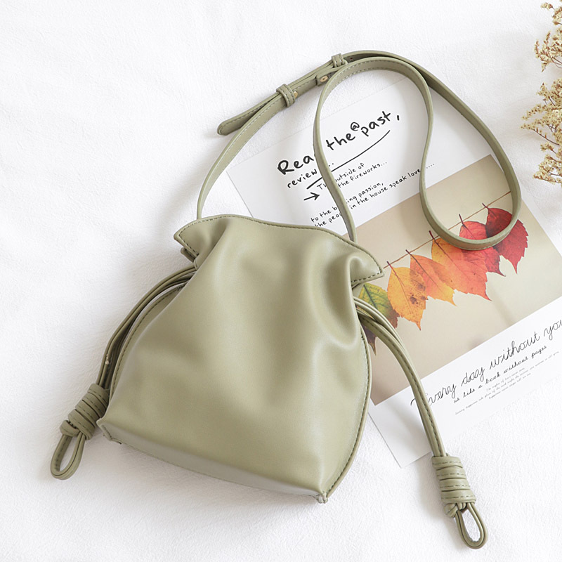 Quality PU Leather Small Pouch Bag Women Artificial Leather Japanese Style Drawstring Flap Bag Female Small Casual Messenger Bag