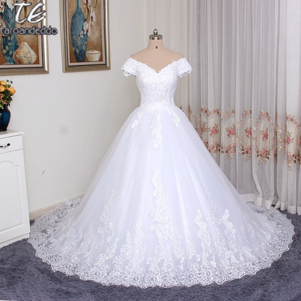 Off The Shoulder Short Sleeves Full Lining Ball Gowns Wedding Dress Leaf Lace Lique Bridal Gown With Crystals In Dresses From Weddings Events