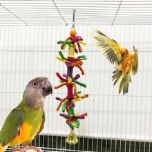 Pet Parrot Toys Chewing Bite Colorful Blend Cotton Rope Bell Bird Hanging Cage For Cockatiel Parakeet Toy