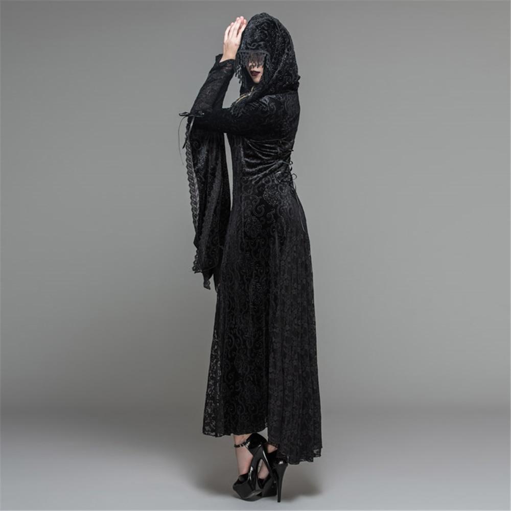 Rose Sorcière Steampunk À Robes Femmes Capuchon Bandage Longues Manches Noir Dress Casual Imprimé Floral Cordes Prêtresse aEvEqT