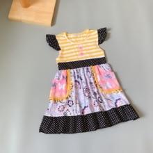 Yellow stripes dress Ruffle Butterfly Black dot lace Girls butterfly pocket