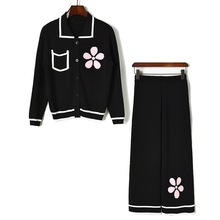 Autumn womens pantsuit floral embroidered cardigans+casual knitted pants 2pieces set 2019 Fall A547