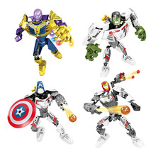 Super Heroes Thanos Iron Man Hulk Spiderman Batman Marvel Avengers Building Blocks Toys Figures Gift single sale batman flash man x men deathpool dc super heroes building blocks figures toys compatible with legoingly batman