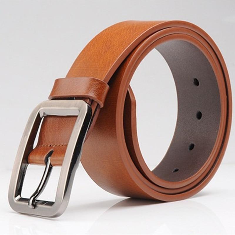 VOHIO Fashion mens leather belts 3.5cm wide belt black men pin buckle belt leather men belt Cowhide leisure Square brown 120cm men s alligator head patterned elegant split leather belt w smooth buckle black