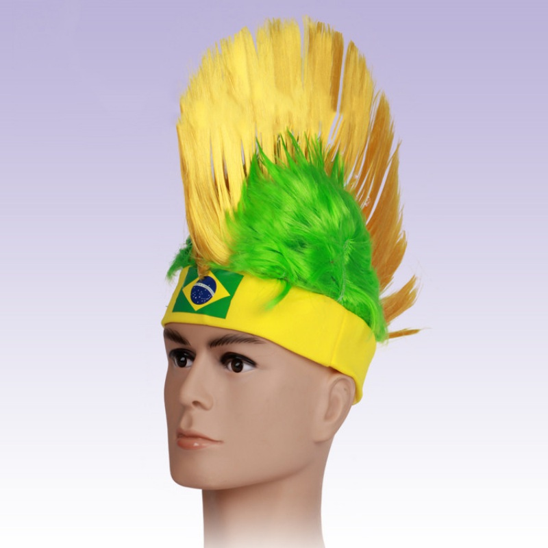World Cup Wig for Cockscomb Hair fans Sports events festival celebrations and stage perf ...
