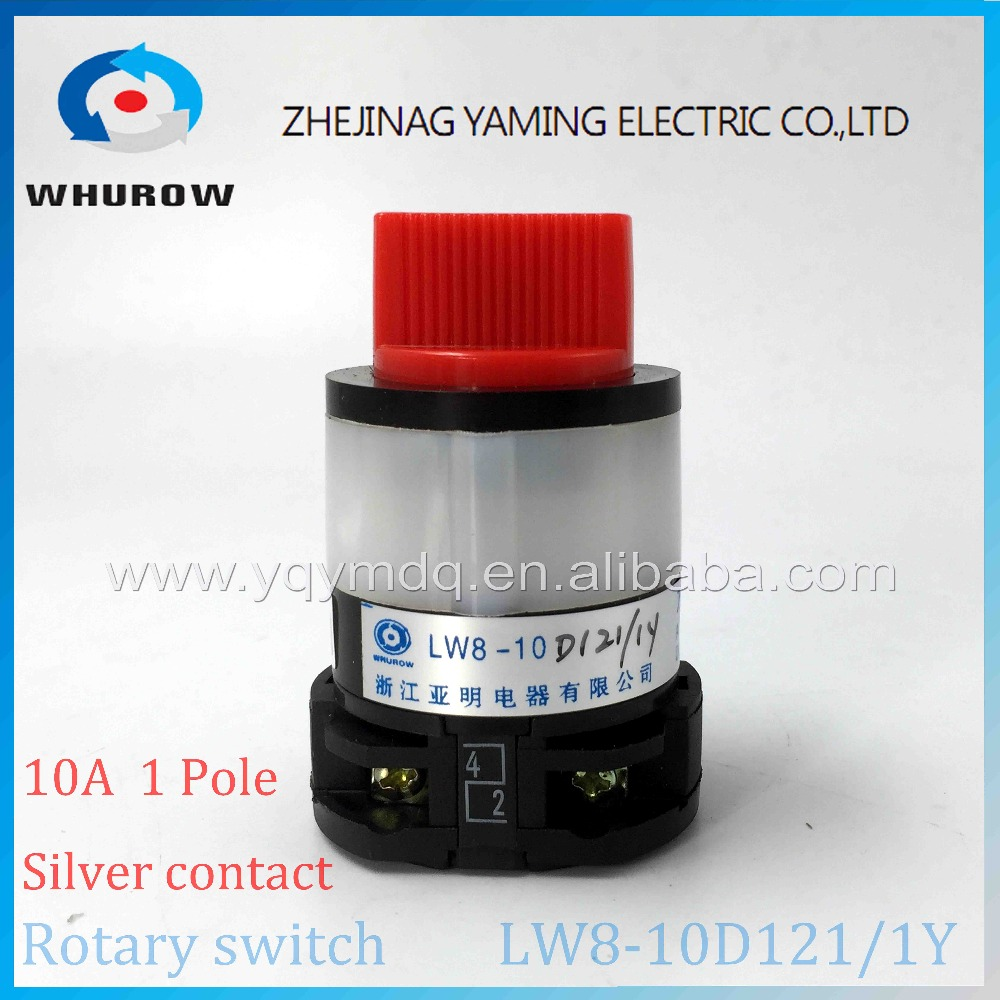 2 position 0-1 OFF-ON Rotary switch LW8-10D121/1Y universal switch 10A 1 pole 4 Terminal changeover cam switch plastic shell 2 position on off dpst 4 pin terminal snap in rocker switch