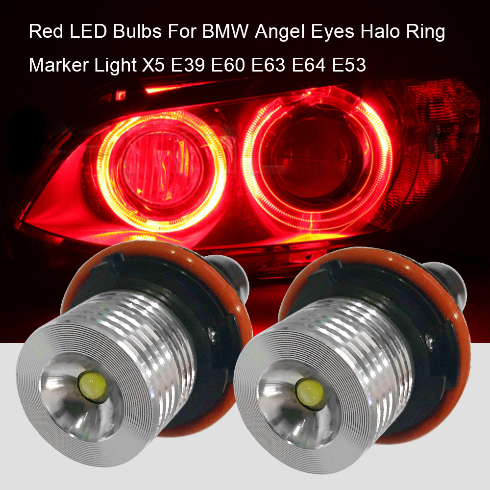 6W Red White for LED Chips Angel Eyes Halo Ring Marker Light For BMW X5 E39 E60 E63   E64 E53 no bulb out warning message 40w h8 led angel eyes halo ring marker light bulbs xenon white 6k for bmw e60 e90 e92 e70 x5 x6