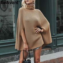 BeAvant Turtleneck oversize knitted sweaters pullover 2018 Casual loose autumn sweaters Women black winter jumper female poncho(China)