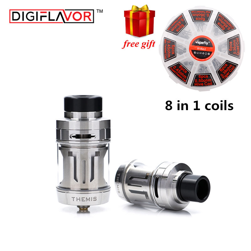 Free gift Digiflavor Themis RTA 5ML/2ML Dual/Single Coil Builds Leak-Proof as geekvape zeus RTA Mesh RTA version with Mesh wires