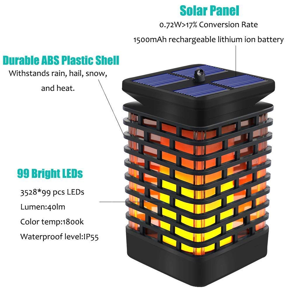 Solar Torch Light with Flickering Flame for Camping,Party Hanging Solar Lights,Decorative Rechargeable Waterproof Solar Powered Candle Lights-Solar Garden Lights Outdoor Arzerlize Solar Lantern