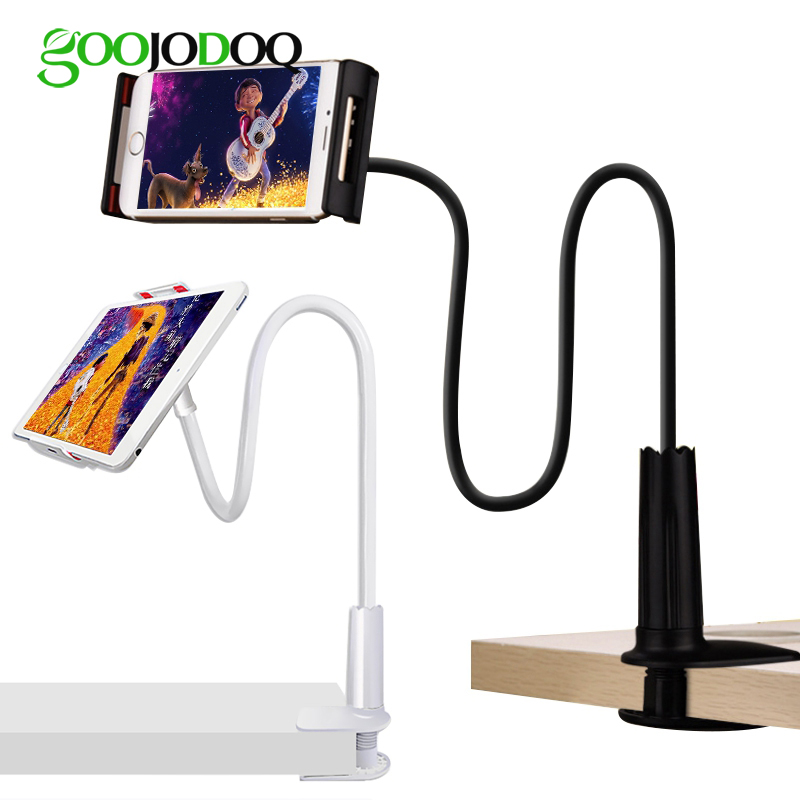 GOOJODOQ Desk 4-10.6 inch Phone Tablet Stand Holder For iPad 2018 Air 2 Samsung For Xiaomi mi Pad 4 Phone Lazy Bed Bracket Stand vmonv tablet phone stand for ipad air mini 1 2 3 4 samsung strong suction tablet car holder stand for 4 10 5 inch iphone x phone