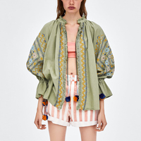 Vintage Embroidered Jacket with Pompoms Hippie Women Retro Shirt Blouse Loose Casual Lantern Sleeve 2018 Autumn Jackets Cardigan