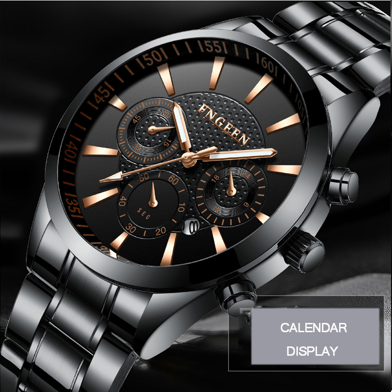 Men's Fashion Luxury Quartz Watch Full Steel Business Black FNGEEN Watches Calendar Waterproof Casual Clock Relogio Masculino