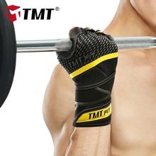 TMT Бодибилдинг кожаные спортивные перчатки оборудование для тяжелой атлетики и фитнеса Перчатки Нескользящие Дышащие длинные наручные обертывания спортивные упражнения