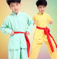 Children kid blue yellow Taekwondo Dobok Wushu Costume Kimono Judo clothing Chinese Kung Fu Suit Tai Chi  Martial Art Uniform