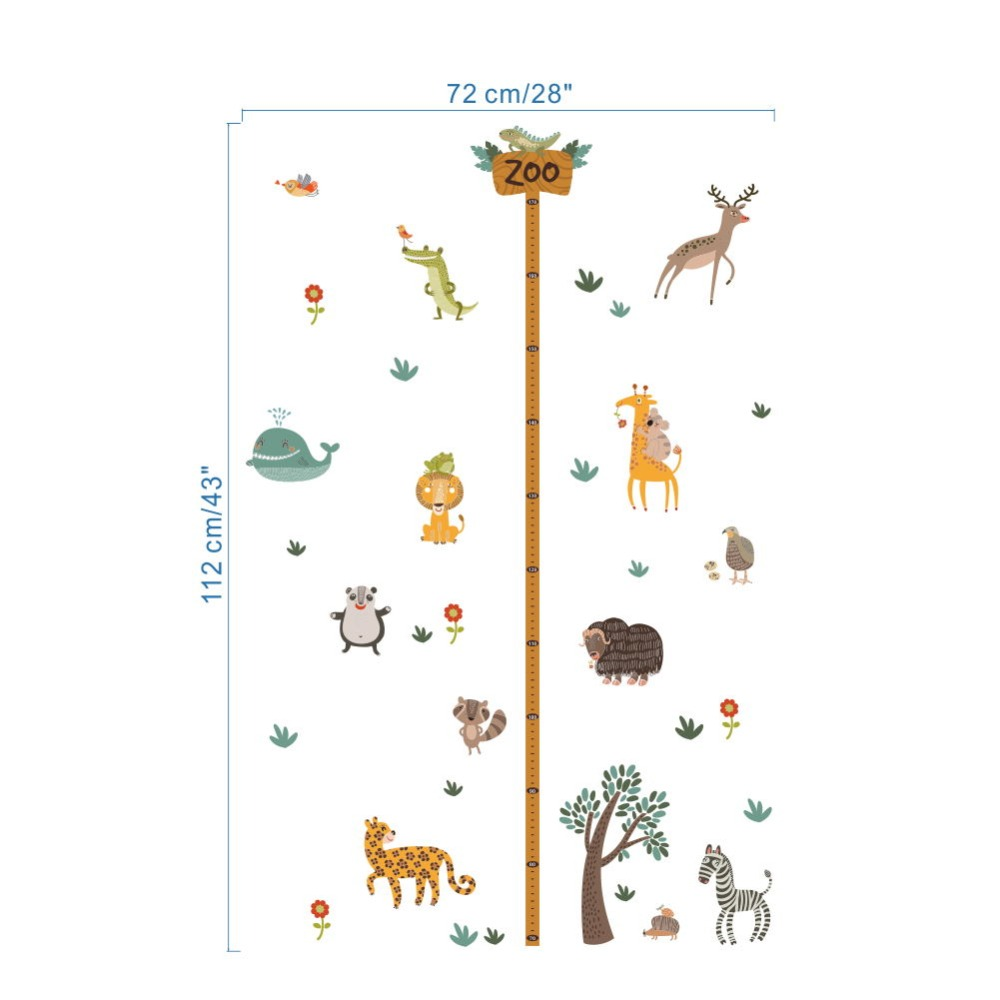 Zoo safari wild animals growth chart height measure wall sticker zoo safari wild animals growth chart height measure wall sticker decorative kids baby nursery home decor decal poster mural in wall stickers from home nvjuhfo Image collections