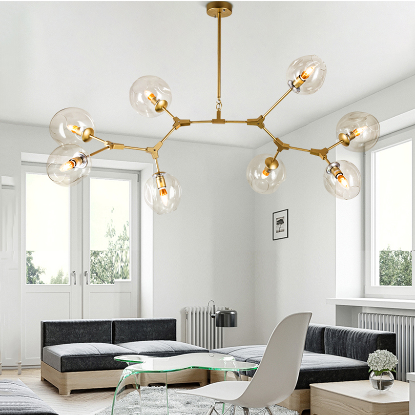 Modern Molecular LED E27 Kitchen Dining & Bar Pendant Light Magic Bean Branch Pendant Lamp for Dining Room Avize Lustre Lighting parrots dragonfly led kitchen dining