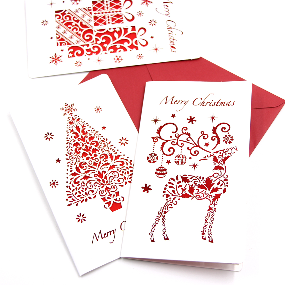 Hot Sale 3pcs Multi Styles Christmas Cards With Envelope Laser Cut