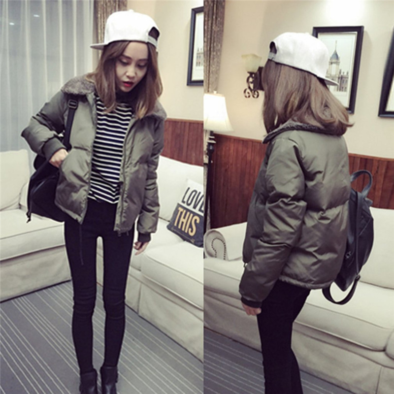 aq206 2015 winter jacket women outerwear plus size down coat fashion both sides cotton padded winter coat women New Women Fashion Autumn Winter Outerwear Coat Korean Lambs Collar Down Cotton-Padded Jacket Short Casual Female Plus size Coats